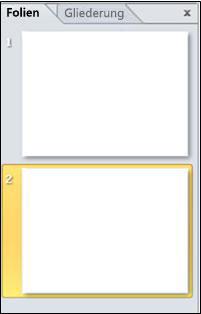 Der Bereich mit den Registerkarten Gliederung und Folien