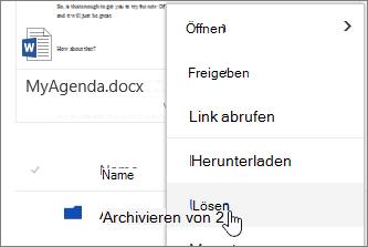 Upnpin Menüelement Datei Kontextmenü die Option hervorgehoben