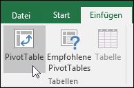 """Wechseln Sie zu """"Einfügen"""" > """"PivotTable"""", um eine leere PivotTable einzufügen."""