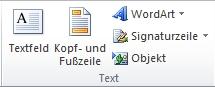 Die Gruppe 'Text' auf der Registerkarte 'Einfügen' im Excel 2010-Menüband