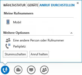 Screenshot des Menüs zum Durchstellen eines Anrufs