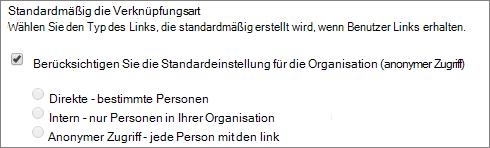 Screenshot der Standardeinstellungen Link Typ für eine Websitesammlung