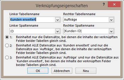 Screenshot der Verknüpfungseigenschaften, Name der linken Tabelle