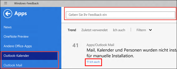 Windows-Feedbackseite