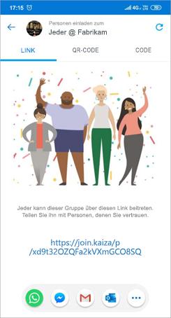 """Screenshot der Seite """"Einladungs Link"""" in Kaizala"""