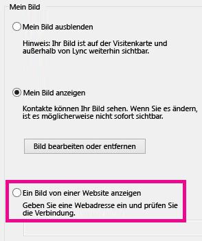 """Screenshotausschnitt des Lync-Optionsfensters für """"Mein Bild"""" mit hervorgehobener Option zum Anzeigen eines Bilds von einer Website"""
