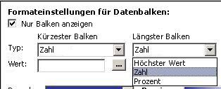 Formatierungseinstellungen für Datenbalken