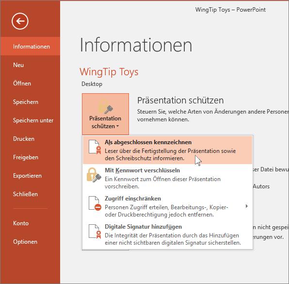 """Zeigt die Schaltfläche """"Präsentation schützen"""" unter """"Datei > Informationen"""""""