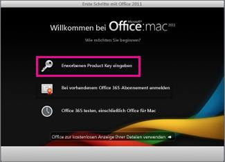 """Aktivierungsbildschirm """"Office für Mac"""""""