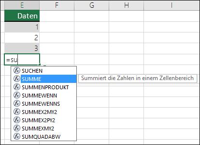 """Excel-Funktion """"AutoVervollständigen für Formeln"""""""