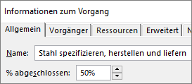 """Screenshot des Dialogfelds """"Vorgangsdetails"""" zu einem Vorgang mit """"Prozess abgeschlossen"""""""