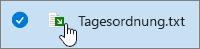 Dateiname und Dokumentsymbol mit überlagerndem grünen Pfeil