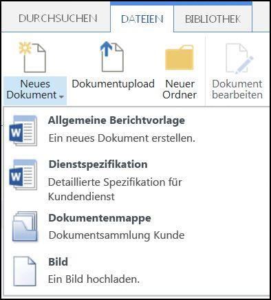 """Menü """"Neues Dokument"""" mit angepassten Inhaltstypen in SharePoint"""