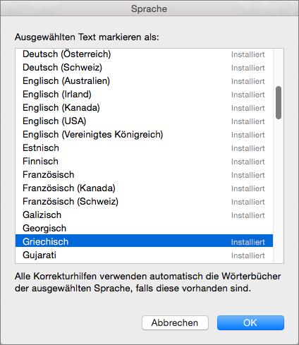 Office für Mac-Korrekturhilfen