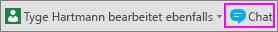 """Schaltfläche """"Chat"""" neben der Benachrichtigung darüber, wer zurzeit mit am Dokument arbeitet"""