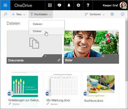 OneDrive: Ordner hochladen