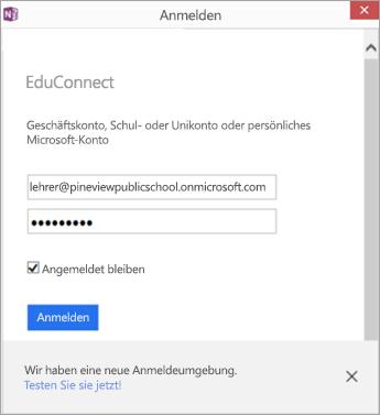 Ein Dialogfeld wird angezeigt, in dem Sie die E-Mail-Adresse Ihres Schul- oder Unikontos mit dem Kennwort eingeben. Schaltfläche zum Anmelden unter Verwendung von EDUConnect.