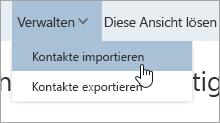 """Screenshot der Option """"Kontakte importieren"""" im Verrwaltungsmenü"""
