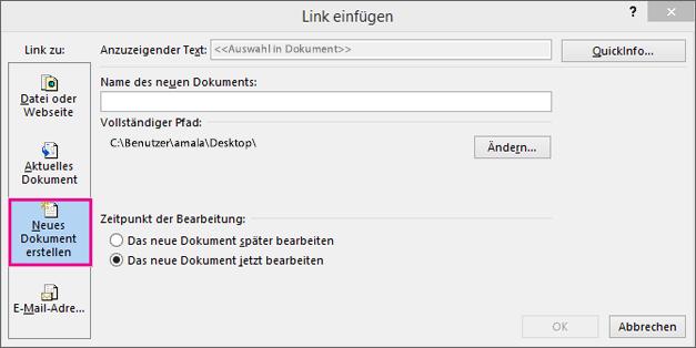 Dialogfeld, in dem Sie einen Link zu einem neuen Dokument erstellen können
