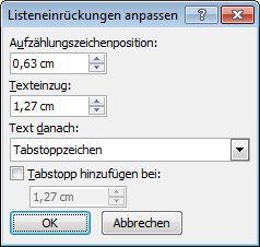 "Word 2007-Dialogfeld ""Listeneinzug anpassen"""