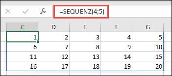 Beispiel für die SEQUENZ-Funktion mit einem 4 x 5-Array