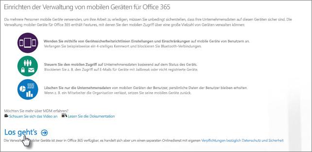 Einrichten der Verwaltung mobiler Geräte für Office 365