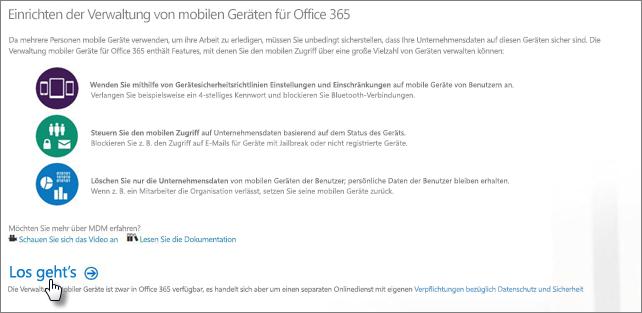 Einrichten der Verwaltung mobiler Geräte für Office365