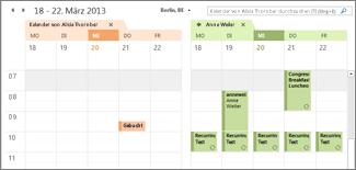 Importierter Google Calendar neben Outlook-Kalender