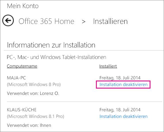"""Die Installationsseite mit markiertem Link """"Installation deaktivieren"""""""