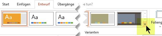 Klicken Sie auf den Abwärtspfeil, um den Katalog der Farbvarianten zu öffnen.