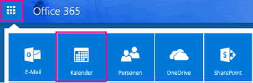 "App-Startfeld mit hervorgehobener Schaltfläche ""Kalender"""