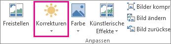 Schaltfläche 'Korrekturen' auf der Registerkarte 'Bildtools'
