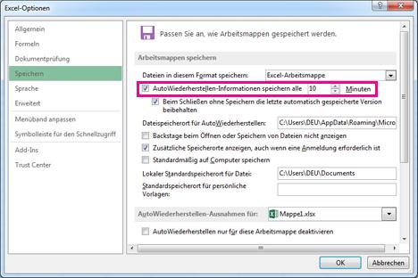 Option 'AutoWiederherstellen' auf der Registerkarte 'Speichern' im Dialogfeld 'Excel-Optionen'