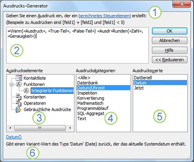 Das Dialogfeld 'Ausdrucks-Generator'