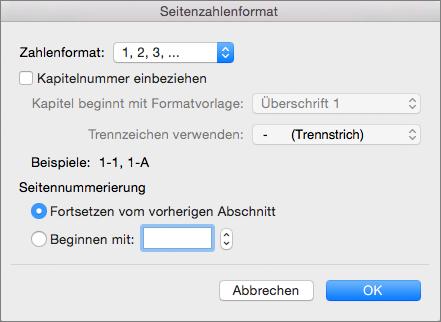 Das Format für Seitenzahlen auswählen