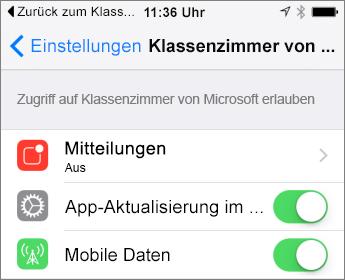 """Bildschirm """"Einstellungen"""""""