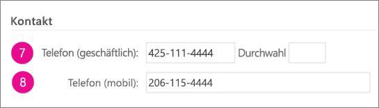 Screenshot der Felder für Telefonnummern, die in Yammer synchronisiert werden