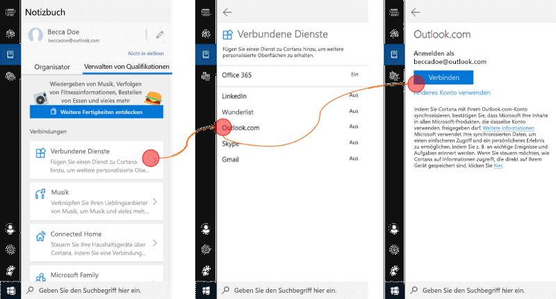 """Screenshot mit geöffnetem Cortana unter Windows 10 und geöffnetem Menü """"verbundene Dienste"""""""