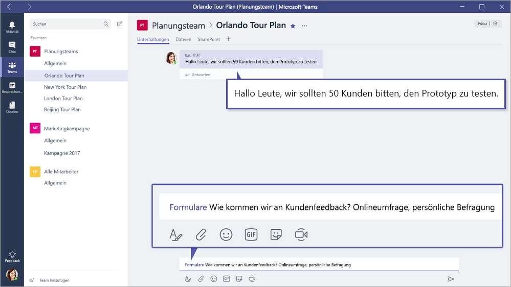 Microsoft Forms-QuickPoll in Microsoft Teams