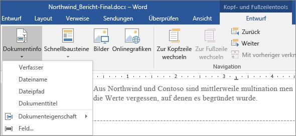 """Auf der Registerkarte """"Kopf- und Fußzeilentools"""" werden die Optionen unter """"Dokumentinfo"""" angezeigt."""
