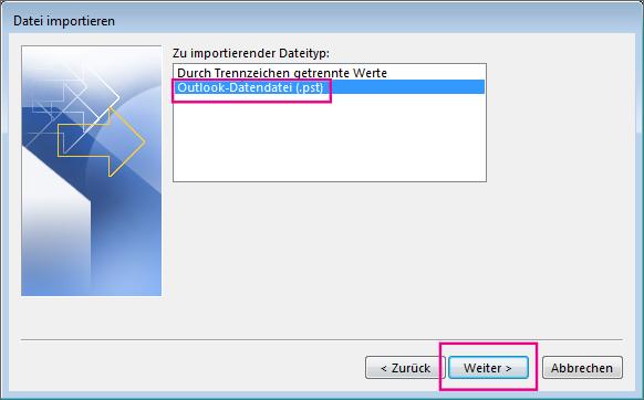 Auswählen, dass eine Outlook-Datendatei (PST) importiert werden soll
