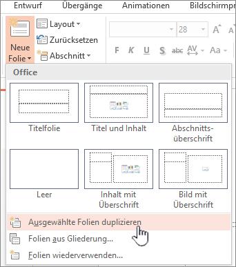 """Menü """"Neue Folie"""" mit ausgewähltem Element """"Folie duplizieren"""""""