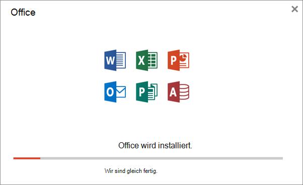 Zeigt das Fortschrittsdialogfeld an, das beim Installieren von Office angezeigt wird