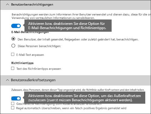 DLP-Regel-Editor-Abschnitte der Benutzerbenachrichtigungen und Benutzeraußerkraftsetzungen
