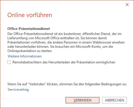 """Abbildung der Option """"Datei > Freigeben > Online präsentieren"""" in PowerPoint"""