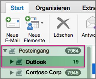 Eine E-Mail mit einem anderen Konto als dem Standardkonto senden