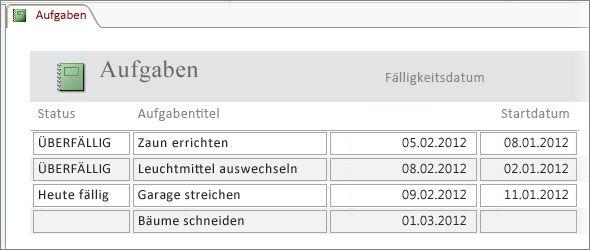 Aufgabenbericht mit einer Spalte 'Status', in der die Funktion 'IIf' zum Anzeigen einer Meldung verwendet wird