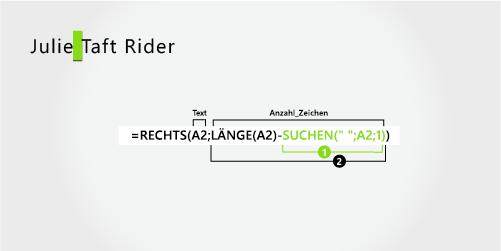 Formel zum Extrahieren eines Vornamens und eines Nachnamens mit Bindestrich