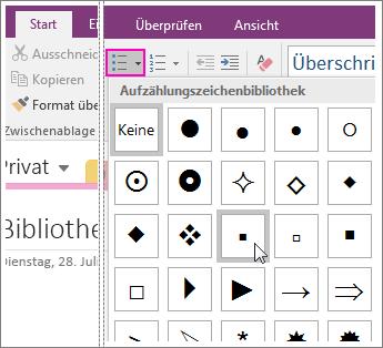 Screenshot: Hinzufügen von Aufzählungszeichen zu einer Seite in OneNote 2016