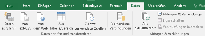 """Optionen für Abrufen und transformieren auf der Registerkarte """"Daten"""""""